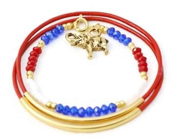 Red, White, Blue,  Gold Bracelets, Leather Bracelets, Gold Bangles, Elephant Bracelets, Good Luck Charm Bracelets, Friendship Bracelet, Set