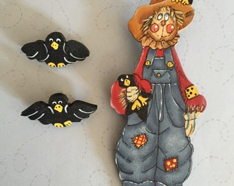 Scarecrow Pin with Crow earrings