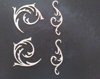 4 piece chipboard dicut lot. Sizzix elegant flourishes. Craft, scrapcooking, DIY, embellishments, card making, decor