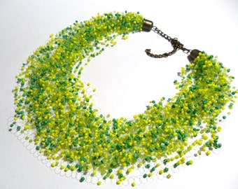 Spring or summer necklace, yellow green airy necklace, crochet multistrand necklace, gift for her