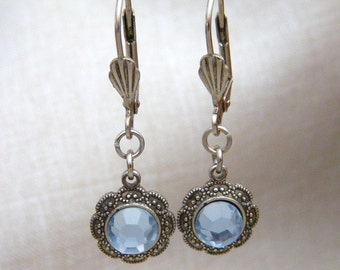 Light Blue Earrings, Sapphire Blue, Crystal Drop Earrings, E55b