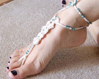 Barefoot sandals- Foot jewelry- Beach wedding- wedding shoes