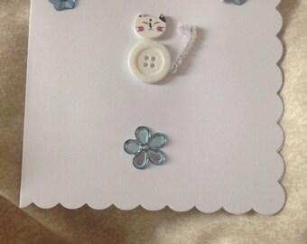 Precious handmade button catz card, light blue