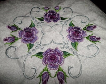 Lavender Roses Embroidered Blocks 12-12 inch Blocks,Blocks Only,Absolutely Stunning