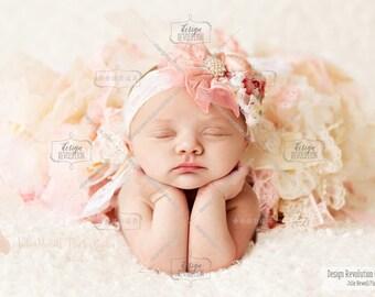 Coral Headband, Custom Headband, Photography Prop, Flower Girl, Flower Headband, Headpiece, Newborn Props, Newborn Photo Props, Pink Props