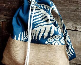 Hawaiian Print Canvas and Burlap Shoulder Bag