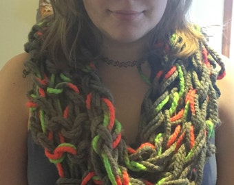 Knit Orange & Green Scarf