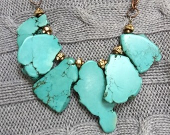 Turquoise Slab with antique copper chain