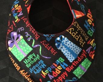 Handmade baby dribble bib - happy birthday design