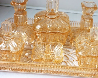 Large Vanity Dressing Table Peach Pressed Glass Art Deco Dressing Table Set