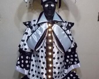 Harlequin black and white lighted stilt costume