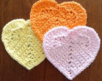 Heart Coasters, 100% Cotton, Single or Set, Crochet, Handmade