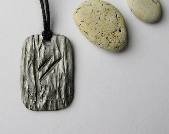 Rune Fehu Scandinavian amulet rune of luck Hand forged rune wrought iron jewelry amulet pendant forged