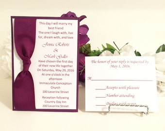 Burgundy & White Wedding Invitation Set For Wedding/Birthdays/Holidays