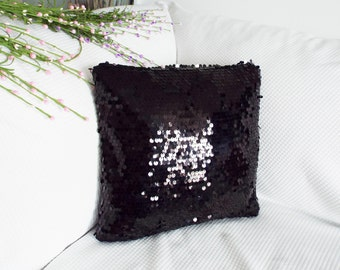 Black sequin pillow cover/free shipping