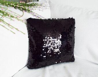 Black sequin pillow cover. free shipping. Sequin pillow. Black pillow.