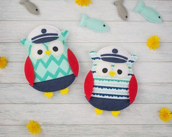 Nautical decor Cute owl ornament Owl room decor Nautical birthday Baby mobile Stuffed toy Navy owls Nautical owl Wall hanging Baby nursery