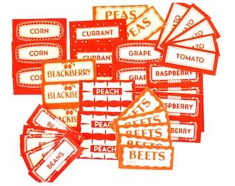 Vintage Labels - Canning Mason Jar - Fruit & Vegetable Labels - Red Gummed Labels