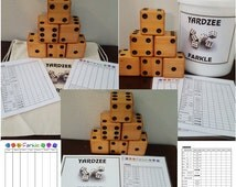 Yardzee Farkle Yatzee Outdoor Cedar Dice Game In Bucket or Bag or with Bucket Label Only with Score Sheets and Instructions