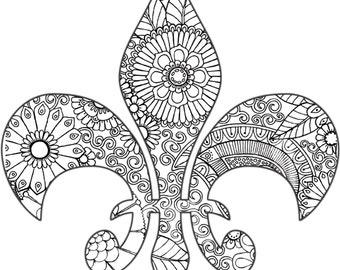 Unique fleur de lis drawing related items etsy for Fleur de lis coloring pages