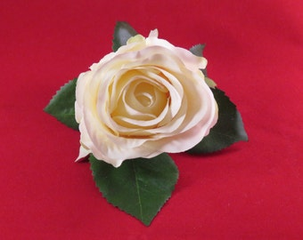 """Wedding Buttonhole; Ivory """"vintage"""" rose. complete with corsage clip."""