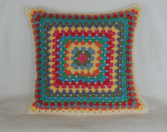 granny square crocheted pillow cover