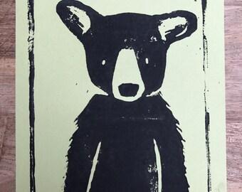 Lino Print Bear - Green