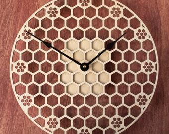 Hexagon Wood Clock, Wooden Clock Honeycomb, Sacred Geometry Comb, Mandala Wood Clock, Modern Clock, Unique Clock
