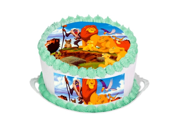 Lion King Edible Cake topper Round HD 7.5 by SimplyCakeToppers