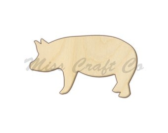 Pig Wood Craft Shape, Unfinished Wood, DIY Project. All Sizes Available, Small to Big
