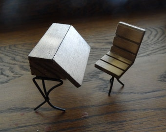 Miniature Dollhouse Wood and Metal SCHOOL DESK and CHAIR Teacher  Student