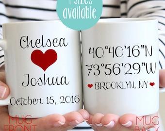 Longitude Latitude Mug, Custom Engagement Gift, Personalized Wedding Gift, Engagement Mug, Wedding Mug, Custom Mug, Couple Mug, Personalized