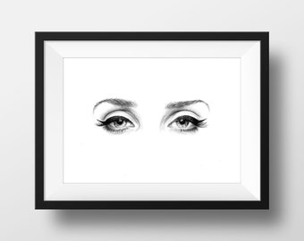 Pencil Drawing, Eyes, Original Artwork, Eye Drawing, Illustration