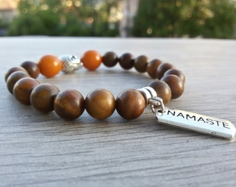 Buddha bracelet Men Yoga bracelet Namaste pendant bracelet Sandalwood jewelry Buddhist bracelet Meditation Yoga gift for him