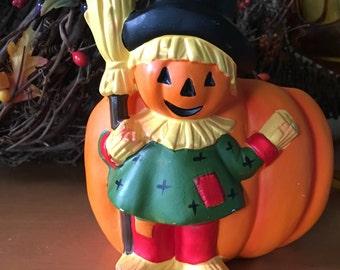 Napco Pumpkin with Scarecrow Planter