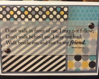 Friendship Handmade Card with quote