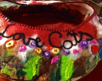 Felted cat bed cat cave with cushion, embelished love cat