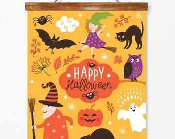 Happy Halloween, Halloween Decoration, Halloween Print, Fall Decoration, Trick or Treat, Nursery wall decor, Printable art