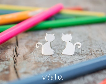 "Silver earrings ""Fat cat"""
