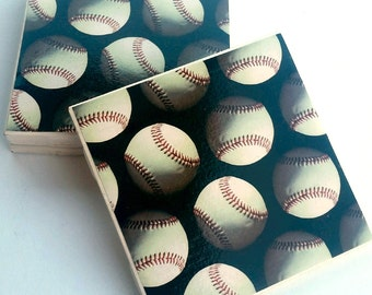 black and white baseball ceramic coasters