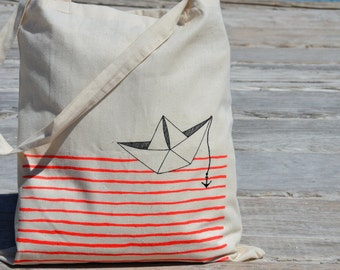 Boat origami illustrated Tote bag