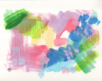 """Abstract Acrylic Painting - 9x12"""" on Watercolor Paper - Original Artwork"""