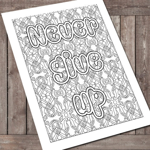 Coloring Book Never give up Stress