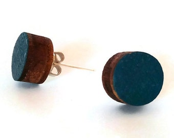 Laser cut wood blue stud earrings,wood handpainted earrings,blue studs,wood stud earrings,wood earrings,colored earrings,blue posts