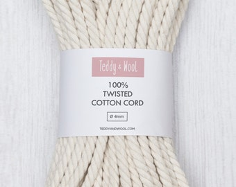 Natural twisted cotton cord  / Cotton rope 4mm - 6mm / Macrame rope / multiple lengths 20m , 50m , 100m , 200m