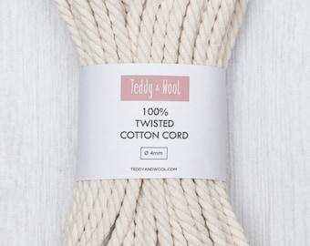 Naturel de coton Cordon torsadé coton corde 4mm - 6mm / / corde en macramé / multiples longueurs 20m, 50m, 100m, 200m