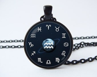 Aquarius Zodiac necklace Personalized pendant Constellation jewelry Astrological sign Zodiac jewelry Birthday necklace Astrology jewelry