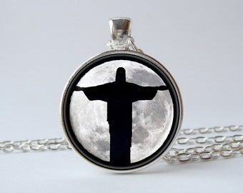 Christ The Redeemer necklace Christ The Redeemer pendant Rio necklace Rio jewelry Rio de Janeiro Moon necklace Moon jewelry Full moon gift