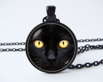 Black cat pendant Animal necklace Cat jewelry Yellow eyes Pet jewelry Wife gift Girlfriend gift Cat pendant Animal lovers Nature Cat Pendant