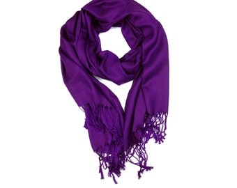Purple Color Supersoft plain Pashmina Shawl - the perfect bridesmaid gift or wedding favor
